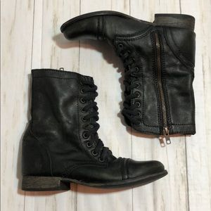 Steve MaddenDistressed Leather Troopa Combat Boots